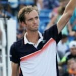 Daniil Medvedev salutes the crowd in Cincinnati